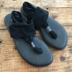 Sanuk 9 Black Yoga Sling Sandals Shoes